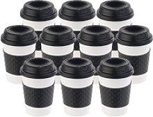 10er-Set Coffee-to-go-Becher, Deckel, 350 ml,