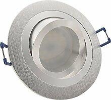 10er Set Decken Einbaustrahler NOBLE 2 Alu Silber
