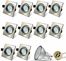 10er Set Eckig Einbaustrahler LED Einbauspot GU10