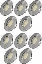 10er Set Einbaustrahler IP65 Optik: Edelstahl gebürstet Bad   Dusche   Sauna   inkl. GU10 5Watt LED Leuchtmittel 3000Kelvin (warm-weiß) 430Lumen (Leuchtmittel austauschbar)   Einbauleuchten Edelstahl lackiert rostfrei