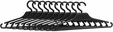 10er Set Kleiderbügel Kunststoff schwarz Plastik Haken Kinderkleidung Breiter 31 cm