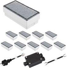 10er-Set LED Pflasterstein CUS Bodenleuchte für
