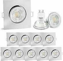 10er Set linovum® LED Einbauspot eckig Edelstahl