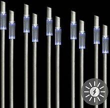 10er Set Solarleuchte LED weiß Edelstahl 67 cm