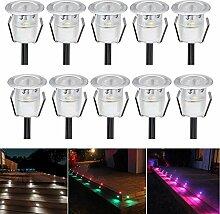 10er Set Terrassen Einbaustrahler LED