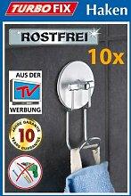 10er SET WENKO TurboFIX Handtuchhaken - Aluminum -