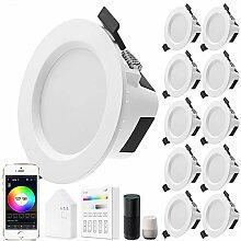 10er set Wlan Bluetooth 9W LED Einbaustrahler