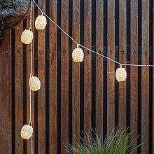 10er Solar LED Rattan Lampion Laternen Lichterkette Kamari Lights4fun