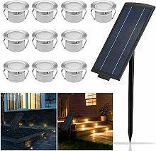 10er Solarleuchte LED Bodenstrahler Ø45mm