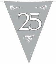 10m Flaggen Wimpel Kette 25 Jahre Silberhochzeit