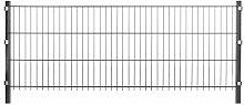 10m Stabmattenzaun Set anthrazit Höhe 75 cm - 5 Matten & 6 Pfosten - Gitterzaun Metallzaun Gartenzaun