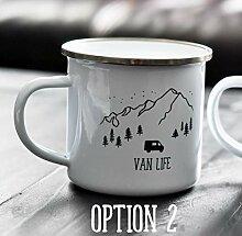10oz Enamel Mug, Van Life Enamel Mountain Mug,