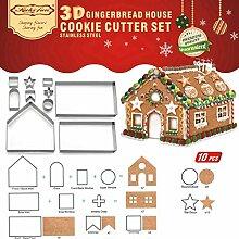 10Pc 3D Lebkuchenhaus Ausstechformen Set Edelstahl