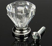 10PCS 25MM Kristall Schubladengriff Möbelgriff mit Schraube Zink-Legierung Knöpfe Kristall