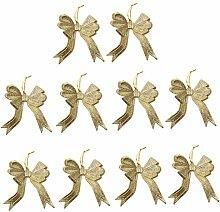10pcs Bowknotform Weihnachtsbaumdekoration Kleiderbügel Verzierungen - Gold