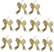 10pcs Funkeln Bowknotform Christbaumschmuck Kleiderbügel Verzierungen - Gold