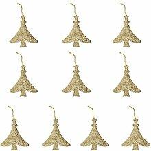 10pcs Glitzerbaumform Weihnachten Christbaumschmuck Kleiderbügel Verzierungen Rot - Gold
