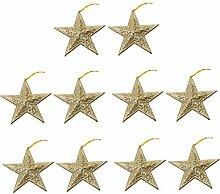 10pcs Glitzersternform Weihnachtsbaumdekoration Kleiderbügel Verzierungen - Gold