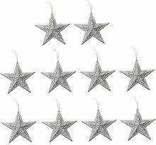 10pcs Glitzersternform Weihnachtsbaumdekoration Kleiderbügel Verzierungen - Silber