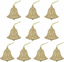 10pcs Glockenform Weihnachtsbaumdekoration Kleiderbügel Verzierungen - Gold
