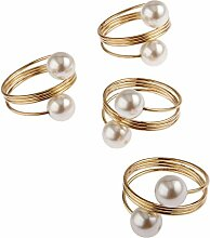 10Pcs Gold Perle Serviette Schnalle Hoop
