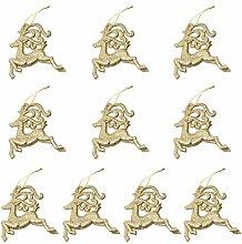10pcs Rentiere Form Weihnachtsbaumdekoration Kleiderbügel Verzierungen - Gold