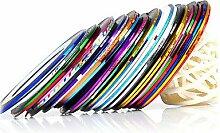 10pcs/Set gemischte Farben Rollen Striping Tape Line Metallic Garn Linie Nagel Kunst Dekoration Aufkleber