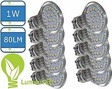 10st LED GU10, GU10 led Kaltweiss, GU10 18 SMD 3528 LED Lampe Leuchte Strahler GU10 1W 18 SMD (3528) LEDs 230V Kaltweiß 80 Lumen, LumenTEC (10er Kaltweiss)
