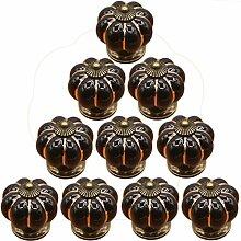 10ST Möbelknopf set, WOLFBUSH Kürbis gestalten Möbelknopf Möbelknauf,Möbelknöpfe, Möbelgriff - Schwarz