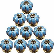 10ST Möbelknopf set, WOLFBUSH Kürbis gestalten Möbelknopf Möbelknauf,Möbelknöpfe, Möbelgriff - Blau