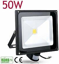 10W 20W 30W 50W 100W LED Fluter Spot + Bewegungsmelder warmweiß Innen-Außenstrahler Objektbeleuchtung Strahler Flutlicht wasserdicht IP65 (50 Watt)