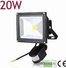 10W 20W 30W 50W 100W LED Fluter Spot + Bewegungsmelder warmweiß Innen-Außenstrahler Objektbeleuchtung Strahler Flutlicht wasserdicht IP65 (20 Watt)