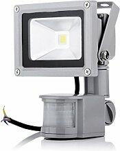 10W LED Flutlicht Fluter Außenleuchte Wandstrahler flutlichtstrahler mit bewegungsmelder IP65, Kaltweiss