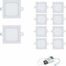 10x 3W Ultraslim LED Eckig Panel Licht