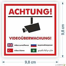 10x Aufkleber Achtung! Videoüberwachung 98 x 98