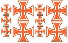 10x Aufkleber Eisernes Kreuz im Set Bogen26x17cm orange