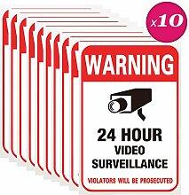 10x Aufkleber Videoüberwachung, Kalolary