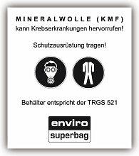 10x Aufkleber Warnhinweis: MINERALWOLLE (KMF)