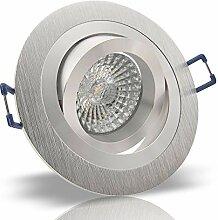 10x Decken Einbauleuchte NOBLE Silber 230V
