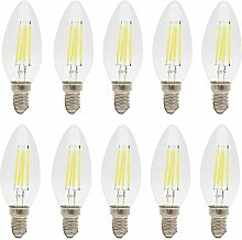 10X E14 C35 Led Lampe 4W Filament Gluehfaden LED