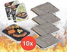 10x Einweggrill Einmalgrill Campinggrill Holzgrill Grill aus Aluminium zu Grillen Aluschale mit Kohle Holzkohle Picknickgrill Holzkohlegrill Grillkohle