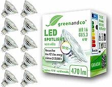 10x greenandco® CRI90+ LED Spot ersetzt 45 Watt