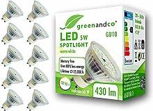 10x greenandco® CRI90+ LED Spot ersetzt 50 Watt