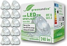 10x greenandco® LED Spot ersetzt 25 Watt MR16