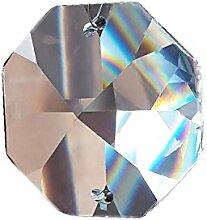 10x Kristall Koppen 22mm 2-Loch Octagon Achteck
