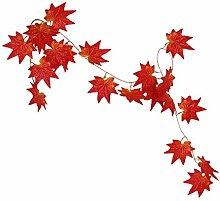 10x Künstliche Blätter Hängen Pflanze Efeurebe Zaun Fenster Wanddekor - Red Maple, 2.4m