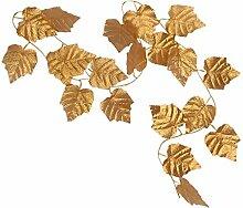 10x Künstliche Blätter Hängen Pflanze Efeurebe Zaun Fenster Wanddekor - Gold Weinblatt, 2.4m