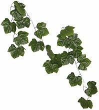 10x Künstliche Blätter Hängen Pflanze Efeurebe Zaun Fenster Wanddekor - Weinblätter, 2.4m