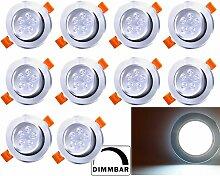 10X LED Einbaustrahler 5W 230V Dimmbar