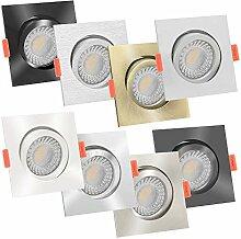 10x LED Einbaustrahler Aluminium eckig 230V | 90